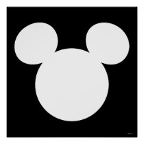 Disney Logo | White Mickey Icon Poster