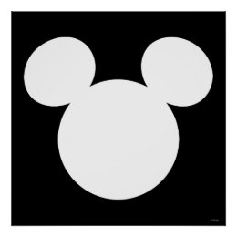 Disney Logo | White Mickey Icon Poster