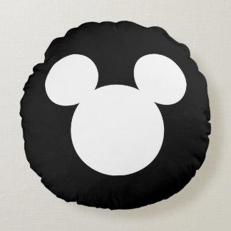 Disney Logo | White Mickey Icon Round Pillow