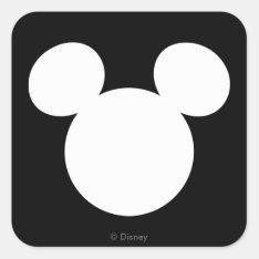 Disney Logo | White Mickey Icon Square Sticker at Zazzle