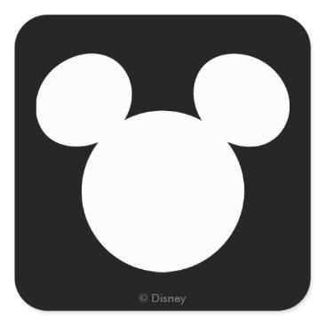 disney Disney Logo | White Mickey Icon Square Sticker