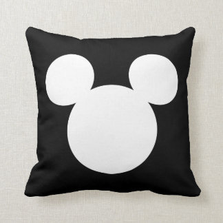 Disney Logo | White Mickey Icon Throw Pillow