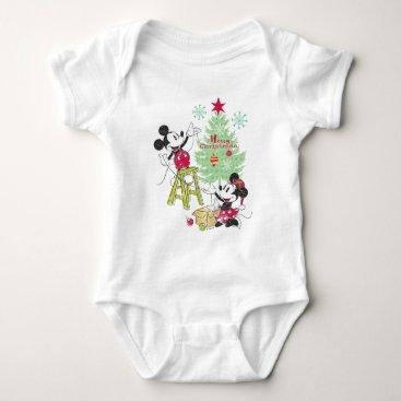 Disney Themed Disney | Mickey & Minnie | Classic Christmas Tree Baby Bodysuit