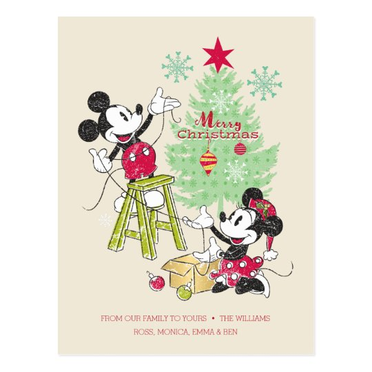 Disney Quotes For Christmas Cards: Classic Christmas Tree Postcard