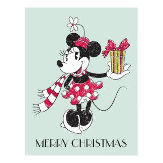 Disney | Mickey & Minnie | Holiday Stripes Pattern Postcard