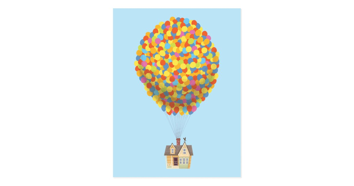 Disney Pixar UP Balloon House Pastel Postcard