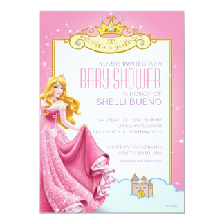 Disney Princess Aurora It's a Girl Baby Shower Personalized Invites