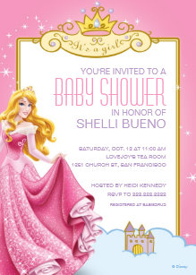 Disney Princess Aurora Its A Girl Baby Shower Invitation