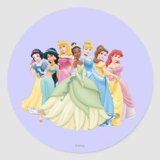 Disney Princess   Aurora, Tiana, Cinderella Center Classic Round Sticker