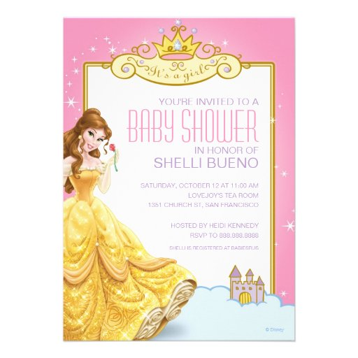 disney princess belle it 39 s a girl baby shower 5x7 paper invitation