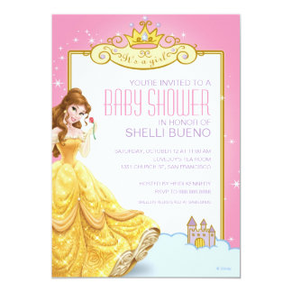 Disney Princess Belle It's a Girl Baby Shower Personalized Announcement