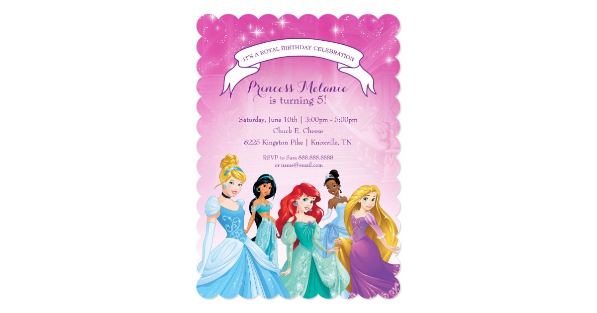 Disney Princess Birthday Invitation Zazzle Com