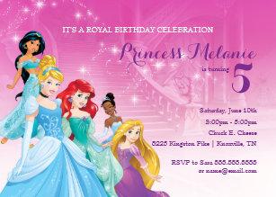 Disney princess invitations zazzle disney princess birthday invitation filmwisefo