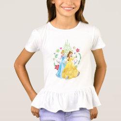 Girls' Ruffle T-Shirt with Disney Christmas Ornaments design