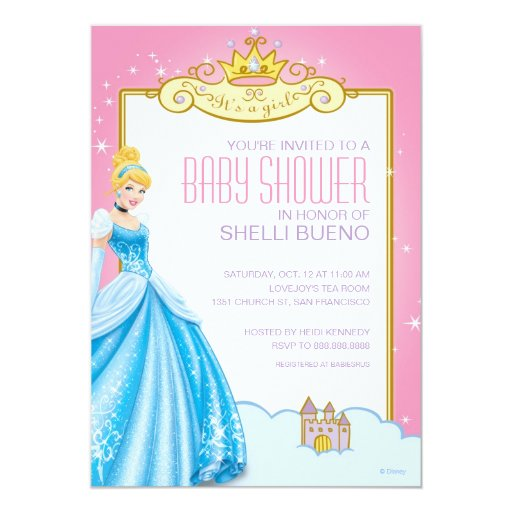 Disney Princess Cinderella It's A Girl Baby Shower Personalized Announcements