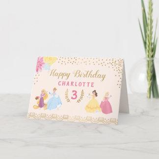 Disney Princess | Floral Gold Confetti Birthday Thank You Card