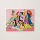 "Disney Princess Friends Jigsaw Puzzle<br><div class=""desc"">This graphic shows the first eleven Disney Princesses gathered together,  featuring: Belle,  Jasmine,  Pocahontas,  Mulan,  Aurora,  Tiana,  Ariel,  Snow White,  Cinderella,  Rapunzel,  and Merida!</div>"
