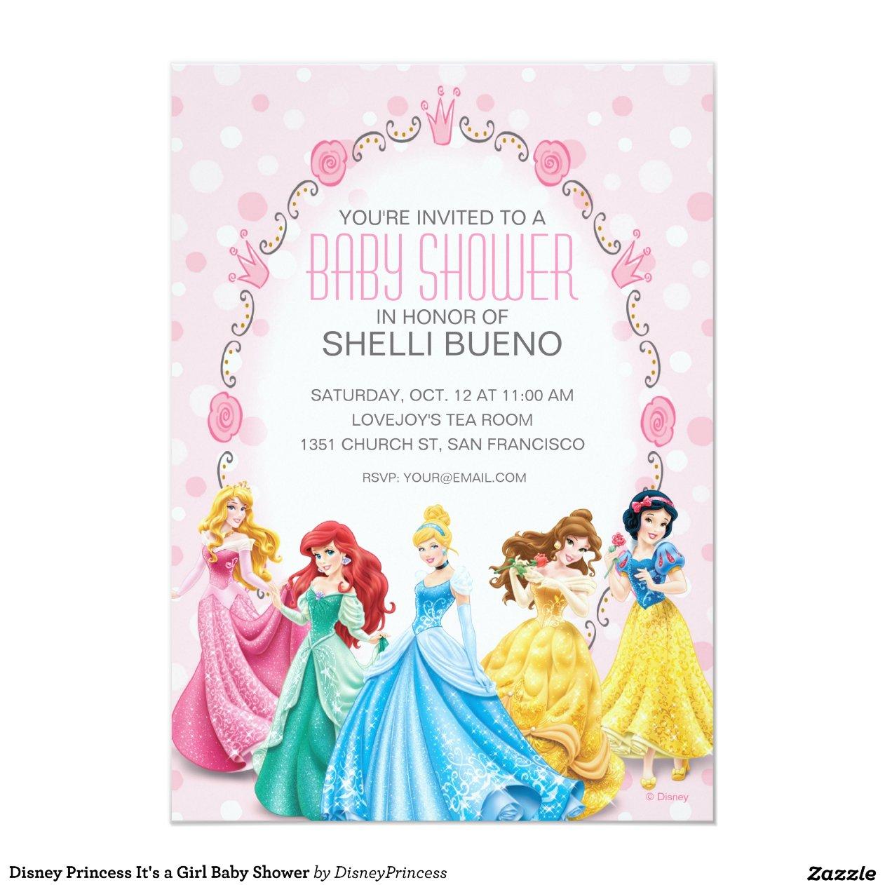 Disney Princess It's a Girl Baby Shower 5x7 Paper Invitation Card | Zazzle
