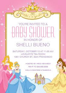 Disney Princess It S A Baby Shower Invitation