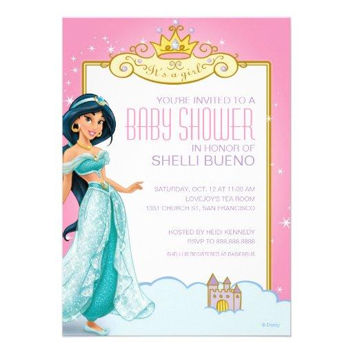 Disney Princess Jasmine It's a Girl Baby Shower Custom Announcements