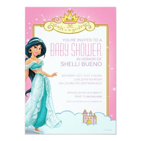 disney princess jasmine its a girl baby shower invitation