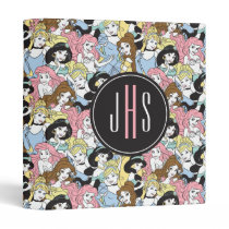 Disney Princess | Monogram Oversized Pattern 3 Ring Binder
