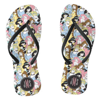 Disney Princess | Monogram Oversized Pattern Flip Flops