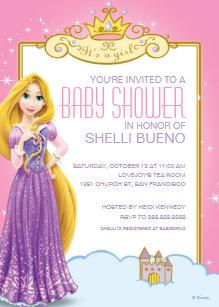 Disney baby shower invitations zazzle disney princess rapunzel its a girl baby shower invitation filmwisefo