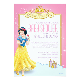 "Disney Snow White It's a Girl Baby Shower 5"" X 7"" Invitation Card"