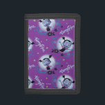 """Disney   Vampirina - Vee - Gothic Pattern Tri-fold Wallet<br><div class=""""desc"""">A girly pattern inspired by the frightfully cute, slightly scary TV show, Vampirina. Here we see the 12 year old vampire girl Vee dance and wave in this colorful design. With black, gothic flowers set against the moon and a bold, purple background, it's clear to see why kids of all...</div>"""