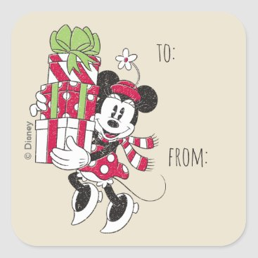 Disney Themed Disney | Vintage Minnie Delivering Holiday Cheer Square Sticker