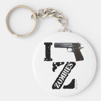 Disparo contra a zombis llavero personalizado