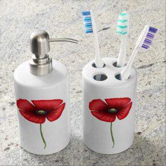Dispensador del jabón de la amapola y tenedor vaso para cepillos de dientes