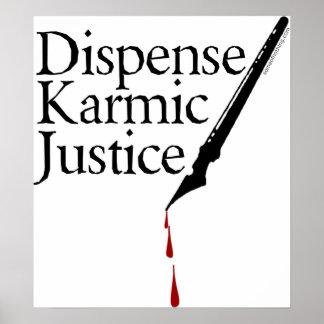 Dispense el poster kármico de la justicia póster