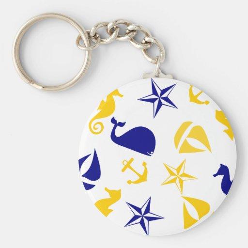 Dispersión náutica azul amarilla llavero