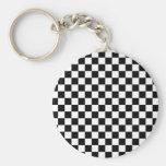 Displaced Checker Basic Round Button Keychain