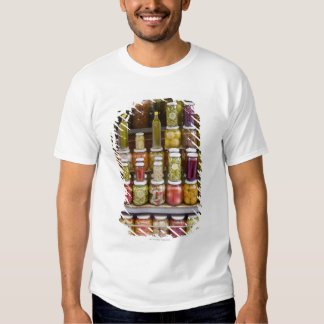 Display of pickled fruits and vegetables. t shirts