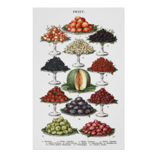 Display of Various Fruits on Platters Poster