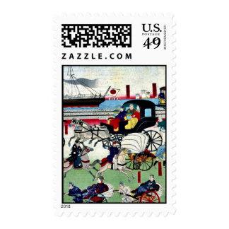 Display of vehicles in Tokyo by Utagawa,Kuniteru Stamps