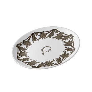 Display Plate - Monogram within Circle of Leaves Porcelain Plate