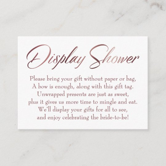 bd6f2764d56b Display Shower Rose Gold Script Insert Tag Card