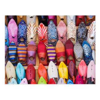 Displayed shoes in a shop in the souks postcard