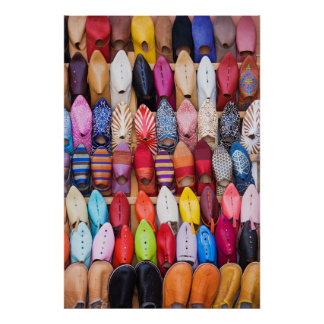 Displayed shoes in a shop in the souks poster
