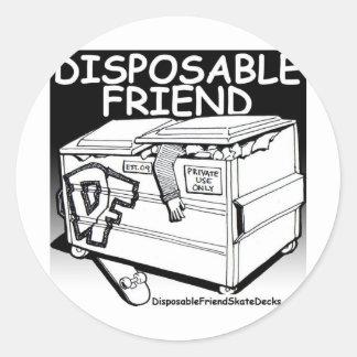 Disposable Friend Classic Round Sticker