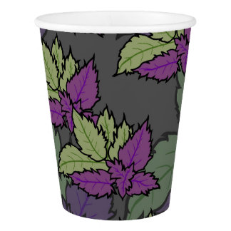 Disposable glass with leaves paper cup
