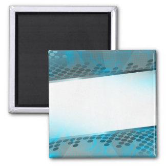 Disposición azul abstracta imán cuadrado