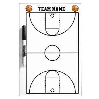 Disposición de la cancha de básquet en blanco y ne pizarras blancas de calidad