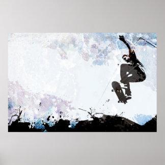 Disposición del Grunge que anda en monopatín Posters