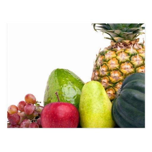 Disposición fresca de las frutas y verduras postales