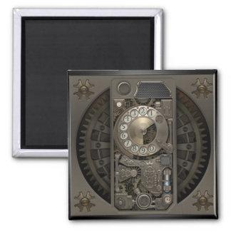 Dispositivo de Steampunk - teléfono de dial Imán Cuadrado